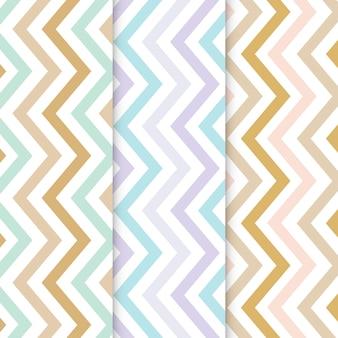Conjunto de padrão sem emenda em ziguezague pastel