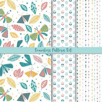 Conjunto de padrão sem emenda floral folk