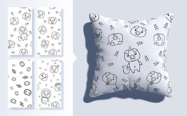 Conjunto de padrão sem emenda kawaii com porcos fofos e almofada 3d