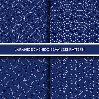 Conjunto de padrão sem emenda sashiko japonês