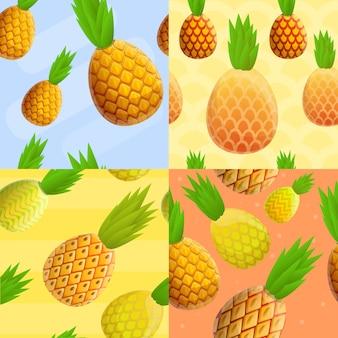 Conjunto de padrão sem emenda tropical de abacaxi, estilo cartoon