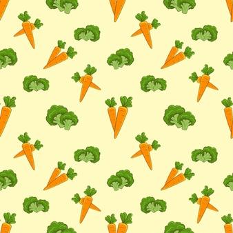 Conjunto de padrão sem emenda vegetal cenoura cenoura