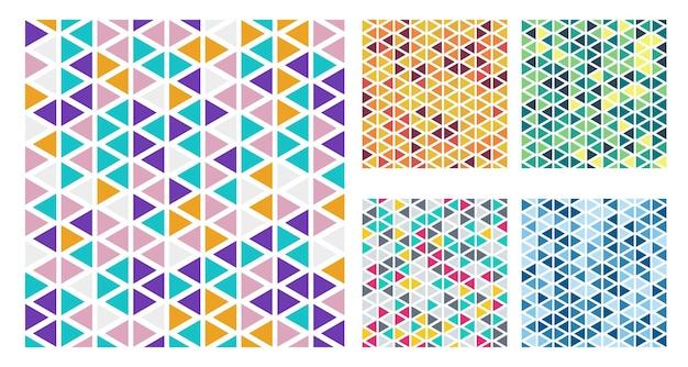 Conjunto de padrão simples de triângulos de cores brilhantes sobre fundo branco. v
