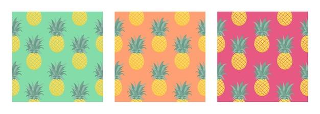 Conjunto de padrão tropical de vetor sem costura com abacaxi