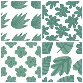 Conjunto de padrão tropical, folhas de palmeira sem costura floral