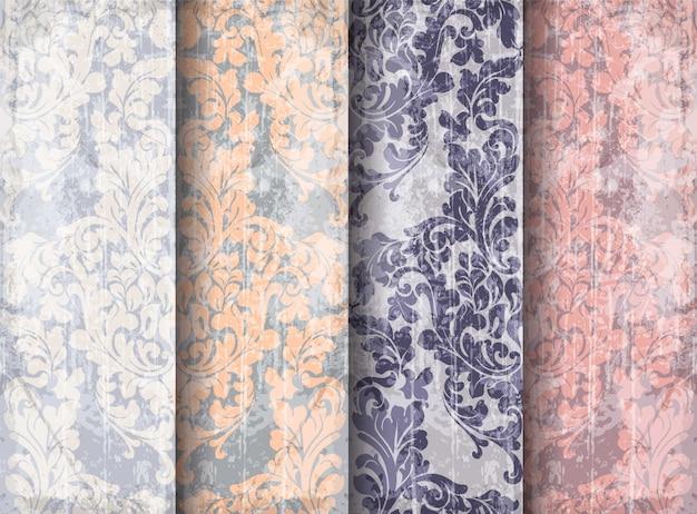 Conjunto de padrão vitoriano barroco vintage