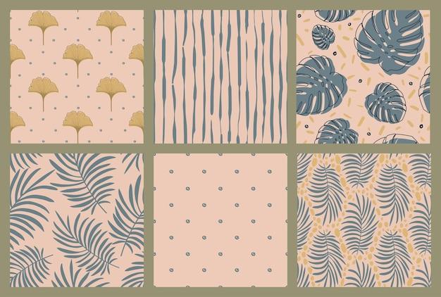 Conjunto de padrões abstratos de boho sem emenda.