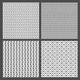 Conjunto de padrões abstratos ou texturas abstratas em preto e branco.
