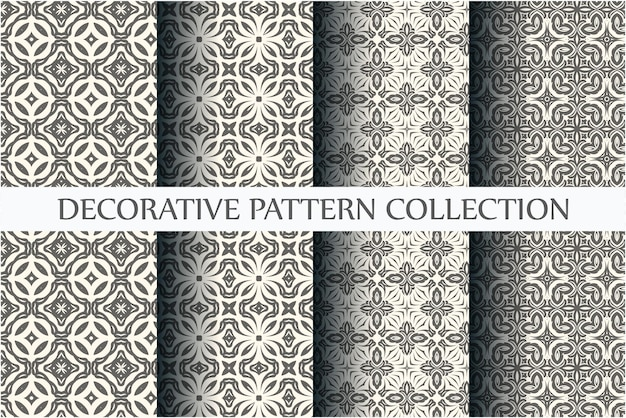 Conjunto de padrões abstratos. padrões sem costura preto e branco