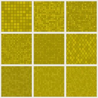 Conjunto de padrões abstratos sem costura de pequenos elementos ou pixels de várias formas em cores amarelas