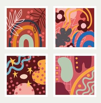 Conjunto de padrões abstratos sem costura doodle contemporâneo com ilustração de formas abstratas têxteis