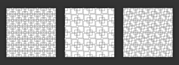 Conjunto de padrões abstratos transparentes preto e branco de coleção de padrão sem emenda art deco.