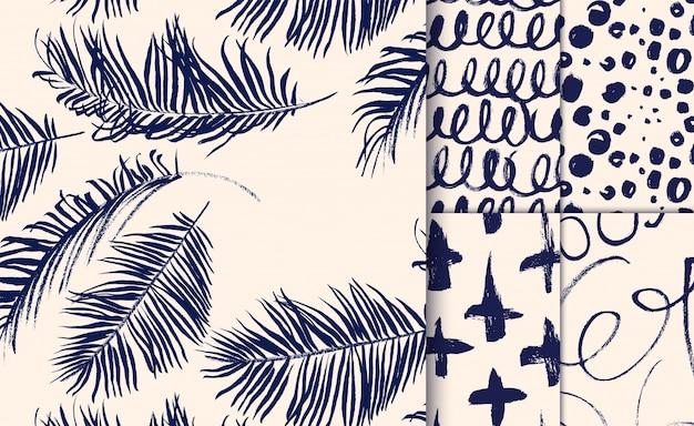 Conjunto de padrões azuis desenhados com pincel seco.