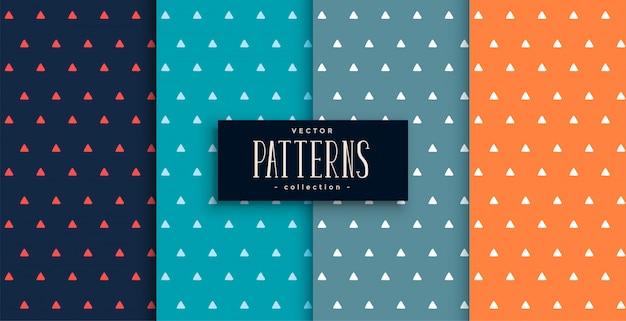 Conjunto de padrões bonitos triângulos pequenos em quatro cores
