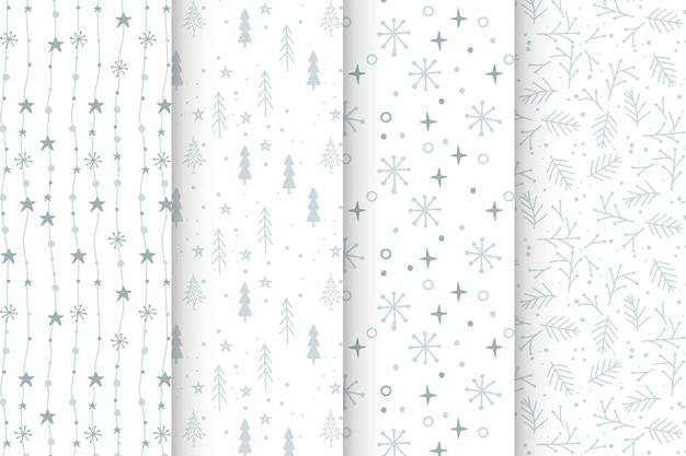 Conjunto de padrões cinzentos de natal desenhados à mão
