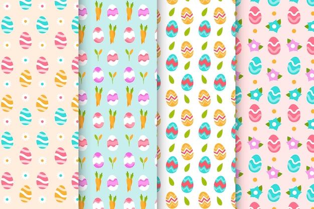 Conjunto de padrões coloridos de dia de páscoa plana