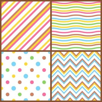 Conjunto de padrões coloridos sem costura para ovos de páscoa