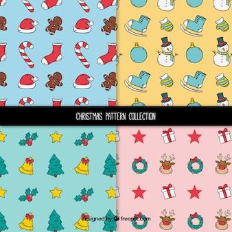 Conjunto de padrões com desenhos de natal