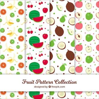 Conjunto de padrões com frutos coloridos