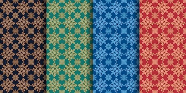 Conjunto de padrões com linhas geométricas e ervas