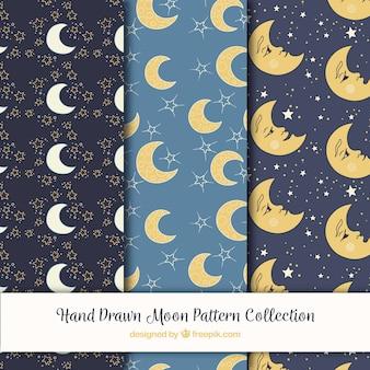 Conjunto de padrões com variedade de luas