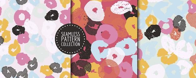 Conjunto de padrões contínuos com diferentes formas e texturas