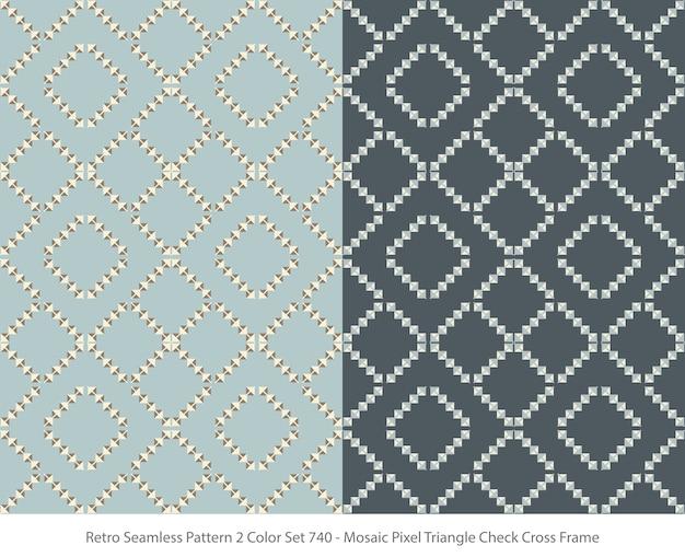 Conjunto de padrões contínuos com moldura de triângulo de pixel de mosaico