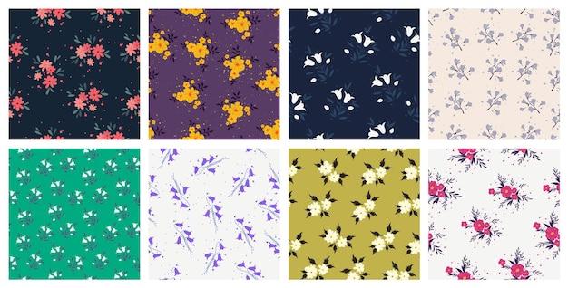 Conjunto de padrões contínuos de designs têxteis em alta
