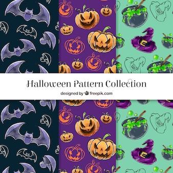 Conjunto de padrões de aguarela de halloween