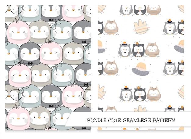 Conjunto de padrões de animais fofos