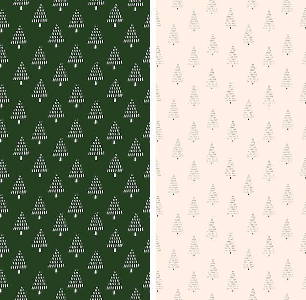 Conjunto de padrões de ano novo com repetição de ilustração vetorial de abetos.