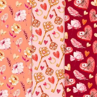 Conjunto de padrões de aquarela para o dia dos namorados