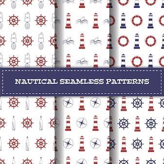 Conjunto de padrões de arte linha náutica