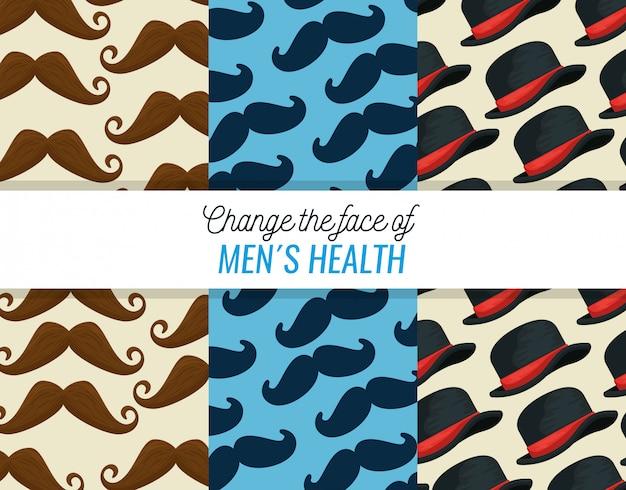 Conjunto de padrões de bigode e chapéu masculino