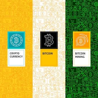 Conjunto de padrões de bitcoin de linha. ilustração em vetor de design de logotipo. modelo para embalagem com rótulos.
