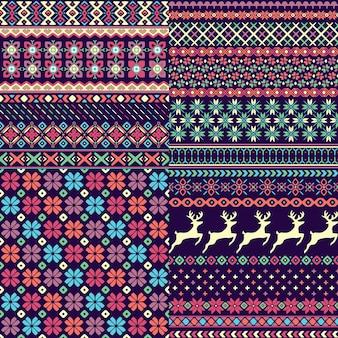 Conjunto de padrões de camisola sem costura