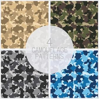 Conjunto de padrões de camuflagem. design de moda para mascarar, estilo militar. ilustração vetorial.