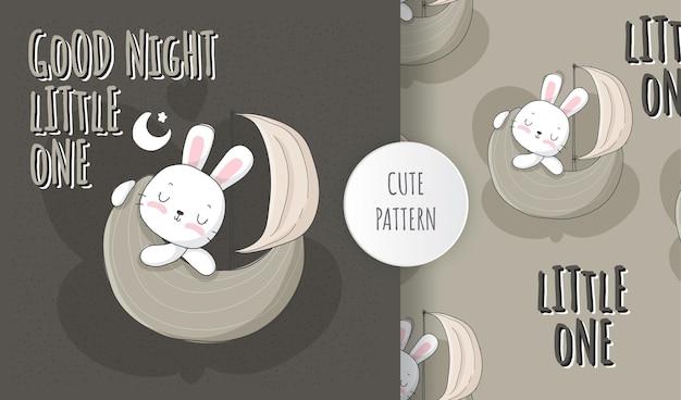 Conjunto de padrões de coelho liso fofo animal dormindo na lua