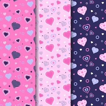 Conjunto de padrões de coração bonito design plano