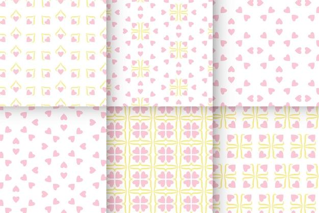 Conjunto de padrões de corações sem costura