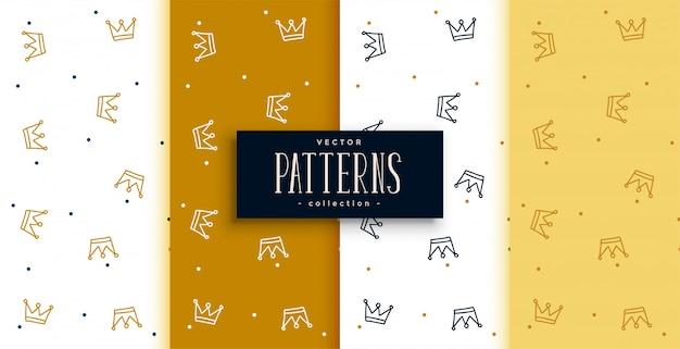 Conjunto de padrões de coroas em design dourado