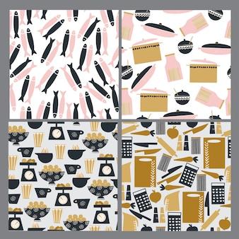 Conjunto de padrões de cozinha sem costura mão desenhada