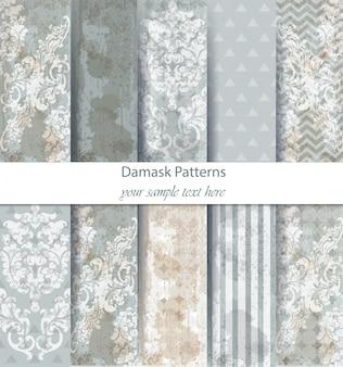 Conjunto de padrões de damasco coleção