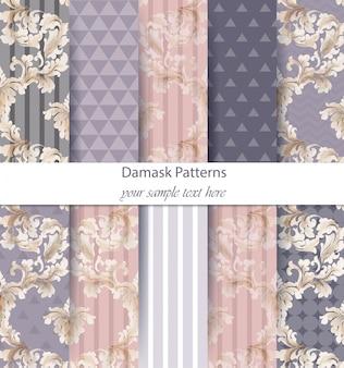 Conjunto de padrões de damasco