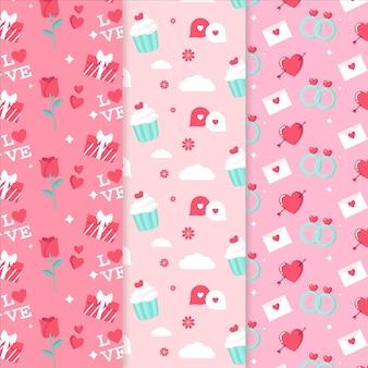 Conjunto de padrões de design plano para o dia dos namorados