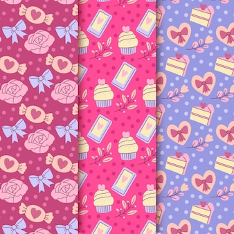 Conjunto de padrões de dia dos namorados desenhado à mão