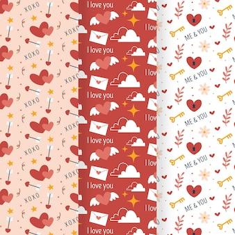 Conjunto de padrões de dia dos namorados desenhados à mão