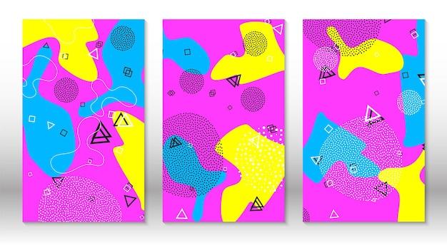 Conjunto de padrões de diversão doodle. estilo moderno dos anos 80-90. elementos de memphis. cores rosa, azul e amarelo fluidas.