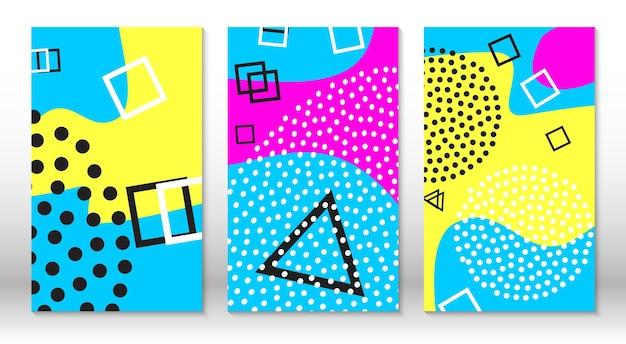 Conjunto de padrões de diversão doodle. estilo moderno dos anos 80-90. elementos de memphis.