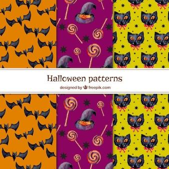 Conjunto de padrões de elementos da aguarela de halloween